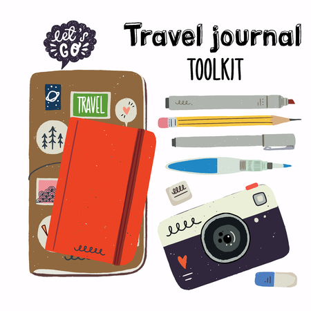 Set of tools for urban sketching. Travel journaling essentials - sketchbook in cover, water brush, pencil, eraser, liner, brush pen, marker. Cartoon vector icons isolated and easy to use. Иллюстрация