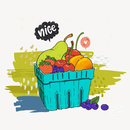 Fruits and berries in disposable blue carton box. Hand drawn vector illustration of local summer fruits. Colorful sketch of vegetarian and vegan food, quick healthy raw snack.