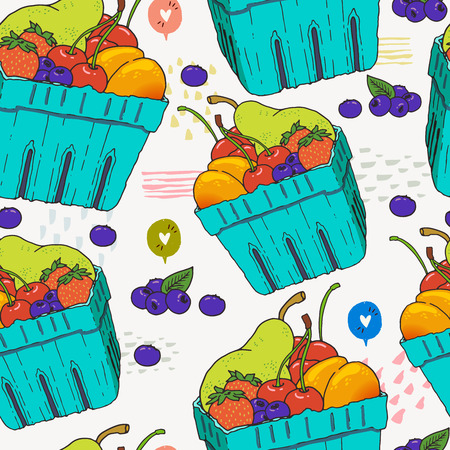 Seamless pattern with fruits and berries in disposable blue carton boxes. Hand drawn vector illustration of local summer fruits. Colorful background with vegetarian and vegan food, healthy raw snack. Иллюстрация