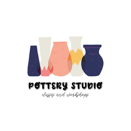 Colorful vector pottery studio design. Perfect emblem for ceramic studio. Stoneware vases and jugs flat style hand drawn illustration. Handcrafted pottery vessels for business card and merchandise. Vettoriali