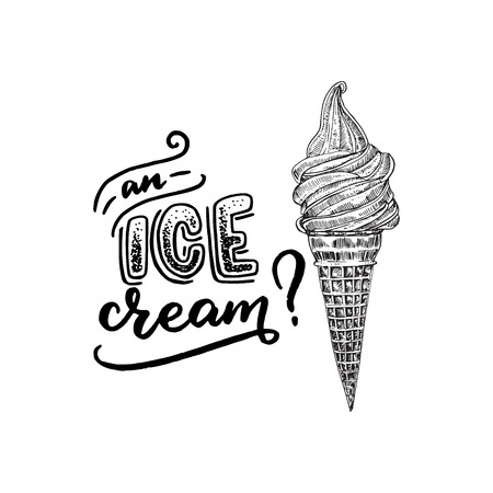 An ice cream lettering questioning text. Handwritten letters with icecream cone flat drawing. Summer mood for card, banner, sign, apparel, t shirt, flyer, store. Vector illustration.