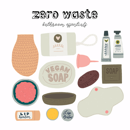 Zero waste bathroom essentials set of flat images . Reusable objects and natural cosmetics to keep environment clean and reduce pollution. Eco lifestyle product icons for shops, store, site. vector Illustration