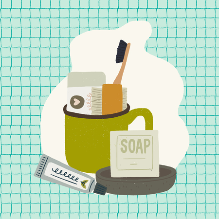 Bath accessories for everyday wash up self caring. Flat style vector images of bar soap, soap dish, toothpaste, toothbrush, brush and green mug on the background of quadrille note page. Vector Foto de archivo - 125182837