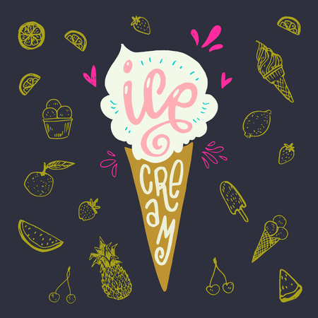 Icecream cornet flat style image with lettering text ice cream on dark background with yellow fruit and cone sketches. Summer mood dessert and sweets. Vector illustration for banner, sign, apparel