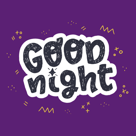 Good night hand drawn lettering phrase on the purple background with doodle elements. Cartoon style handwritten text with white outline. Evening good bye words for bedroom decor, screen saver. Vector Vectores