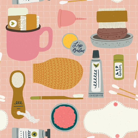 Seamless pattern of bath accessories for female selfcare on the pink squared notebook sheet background. Zero waste set of bathroom essentials. Eco product wallpaper design for shops, store, site.