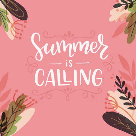 Summer Is Calling hand drawn lettering saying with monograms and floral frame. Tender handwritten inscription. Vector illustration with calligraphic text for card, apparel, blog cover, t shirt, poster Illustration