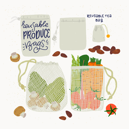 Set of reusable tea and produce bags for shopping and domestic use. Flat style vector illustration of ecological lifestyle. Natural and biodegradable material bag for eco friendly shops, stores