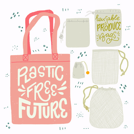 Tote bag with hand drawn lettering Plastic Free Future and set of produce bags for shopping and storage. Flat style vector illustration for eco store, organic food shop, local market banner, vegan site