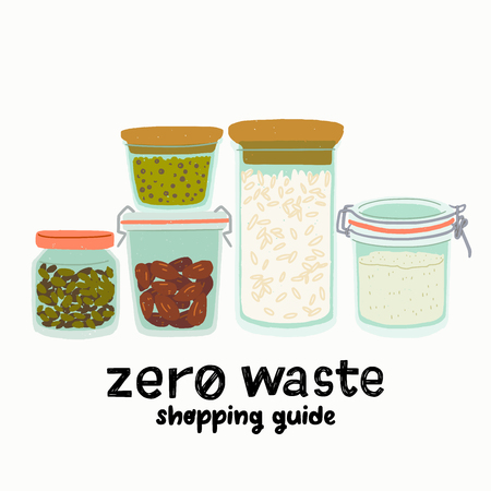 Set of flat style glass jars for dry goods storage with hand drawn lettering text Zero Waste Shopping Guide. Kitchen reusable containers for zero waste lifestyle. Cartoon images of transparent cans.