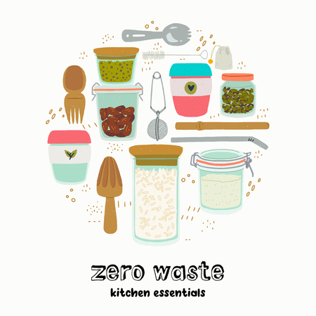 Set of cartoon style cooking outfit and cutleries with hand drawn lettering inscription Zero Waste Kitchen Essentials. Reusable kitchenware made of natural biodegradable materials. For eco shop, store Ilustração