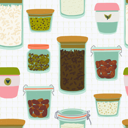 Seamless pattern with cartoon glass jars and tumblers on quad ruled background. Flat style kitchen utensils backdrop. Reusable containers for zero waste lifestyle. For eco shop site, cooking blog Ilustração