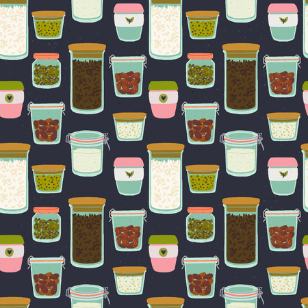 Seamless pattern with cartoon glass jars and tumblers on dark background. Flat style kitchen utensils backdrop. Reusable containers for zero waste lifestyle. For eco shop site, cooking blog, print Ilustração