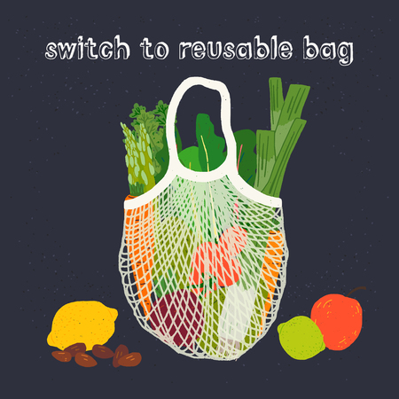 Mesh shopping bag with fresh vegetables and hand lettering inscription Switch to Reusable Bag. Healthy food and zero waste lifestyle vector illustration on dark background. For eco shop, store, blog