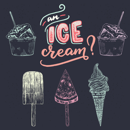 Hand drawn lettering phrase An Ice Cream? with different kind of sketched ice-cream images. Summer mood handwritten inscription on the dark background. For seasonal banner, shop, store, cafe chalkboard Stockfoto - 123425438