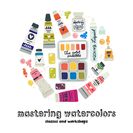 Mastering Watercolors Classes and Workshops lettering inscription with art supplies set. Flat style icons of watercolour, gouache, acrylic paints in tubes, palette. Cartoon images of painting colors Ilustração