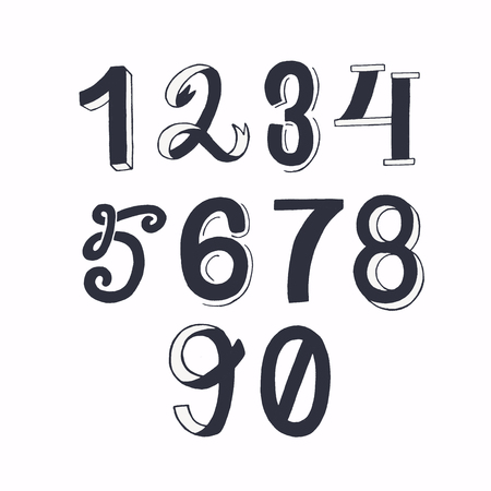 Set of hand drawn lettering figures from one to nine including zero. Calligraphic numerical symbols 1234567890. Handwritten row of numbers. Vector illustration with isolated characters written in ink
