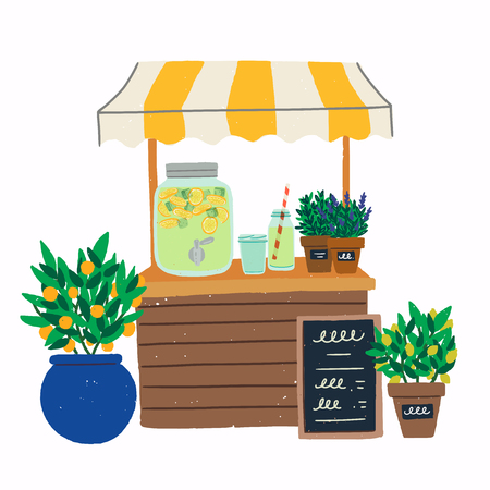 Lemonade stand with citrus trees in pots illustration. Flat style image of cooling beverage pitcher with menu chalkboard, jar, glasses and plants. Refreshing drink stand for hot summer days. Vector