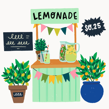 Cooling drink stand festooned with small flags, with sign Lemonade, chalkboard menu, price tag 0,25$ and citrus trees in pots. Flat style glass pitches with strawberry and lemon refreshing beverages Illustration