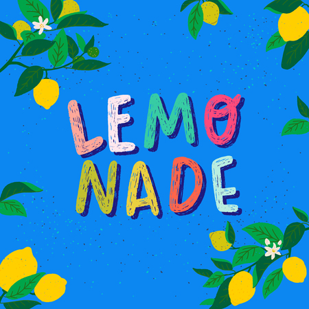 Joyful summer mood card with hand drawn lettering text Lemonade and frame of citrus fruits, flowers and leaves. Colourful typography inscription on rough blue background. Refreshing beverage poster