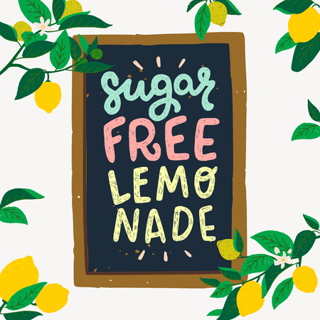 Flat style vector illustration of lettering inscription Sugar Free Lemonade drawn on framed chalkboard. Multicolour text with lemon fruits, flowers and leaves. Sunny poster with citrus tree branches Banco de Imagens - 124125477