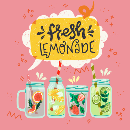 Set of flat style mason jars with cooling drinks and hand drawn lettering inscription Lemonade in speech bubble. Refreshing beverages with strawberry, lemon, lime, mint, ice cubes and water. Vector Ilustração