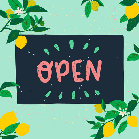 Hand drawn lettering inscription Open on chalkboard placed on mint background with frame of citrus flowers, fruits and leaves. Flat style vector illustration with welcoming sign. Summer vibes banner