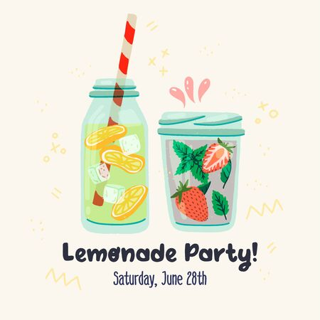 Flat style glass bottle and mason jar with soft drinks, hand drawn lettering inscription Lemonade Party and settled date. Invitation card with cooling beverages for guests on doodled background. Vector