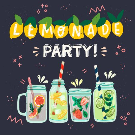 Four flat style glass bottles and mason jars with cooling drinks. Invitation card with festooned lemon fruits and lettering inscription Lemonade Party. Vector illustration dark background with doodles