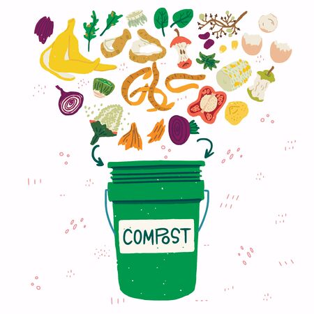 Flat style vegetable kitchen scraps and green compost bin on background with doodles. Organic waste for domestic composting. Parings and peelings of banana, egg, potato, apple, corn, onion, pepper Illustration