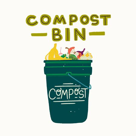 Flat vector illustration with emerald green trash can and lettering caption text Compost Bin. Hand drawn waste full of food scraps. Skin of banana, core of an apple, maize cob for composting