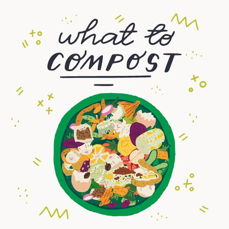 What to Compost hand drawn lettering inscription and top view to waste bin full of food scraps. Flat style fruit and vegetable peelings and pairings in rubbish can on background with doodles. Vector