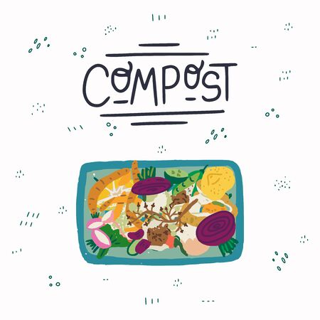 Organic kitchen waste in trash bin view from above and lettering capture text Compost on background with doodles. Flat style fruit and vegetable scraps for composting. Eco friendly housekeeping. Vector Illustration