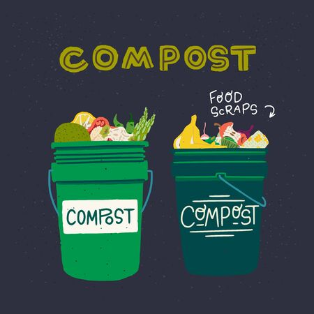Two green composting bins with kitchen scraps. Flat style pair of trash cans with organic waste and lettering inscription Compost on dark background. For eco shop, vegan cafe, poster, flyer, banner