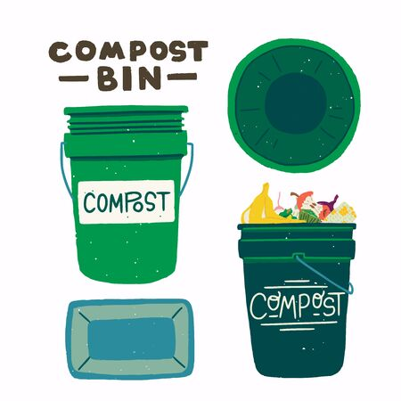 Two flat style round front and top view with lettering inscription Compost Bin. Empty trash can and dustbin full of organic kitchen scraps. Compostable fruit and vegetable waste. Vector