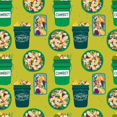 Nahtloses Muster mit Kompostbehältern vorne und Draufsicht mit Küchenabfällen gefüllt. Kompostierung Thema Hintergrund in Grüntönen. Biomüll-Recycling-Textur mit Mülleimern und Obst- und Gemüseschalen