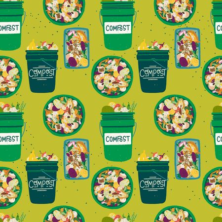 Seamless pattern with compost bins front and top view filled with kitchen scraps. Composting theme backdrop in greens. Organic waste recycle texture with trash buckets and fruit and vegetable peelings Illustration