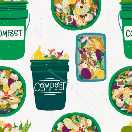 Tiling background with flat style composting bins front and top view with scraps. Trash for compostable organic parts of fruits and veggies. Waste recycling seamless pattern. Vector texture