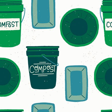 Seamless pattern with green cartoon style composting bins. Repeating texture with flat style containers with tops for garbage segregation. Backdrop with rounded and four squared trash buckets. Vector