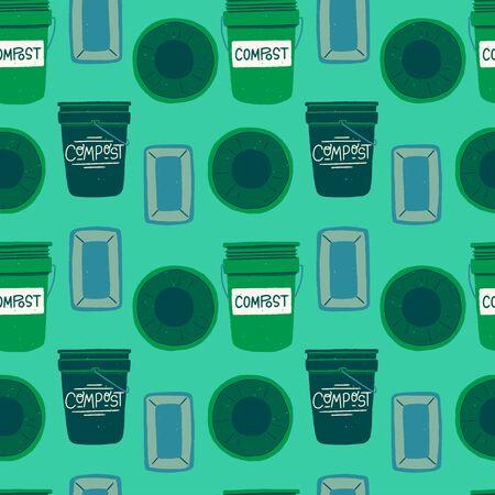 Abfallbehälter für organische Abfälle nahtlose Muster in Grüntönen. Wiederholen von flachen Kompostbehältern Vorder- und Draufsicht auf tadellosem Hintergrund. Grünliches Dropback mit handgezeichnetem Kompost. Vektor