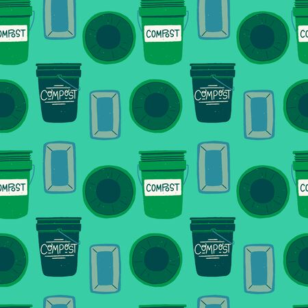 Trash containers for organic waste seamless pattern in greens. Repeating flat style composting bins front and top view on mint background. Greenish dropback with hand drawn compost. vector