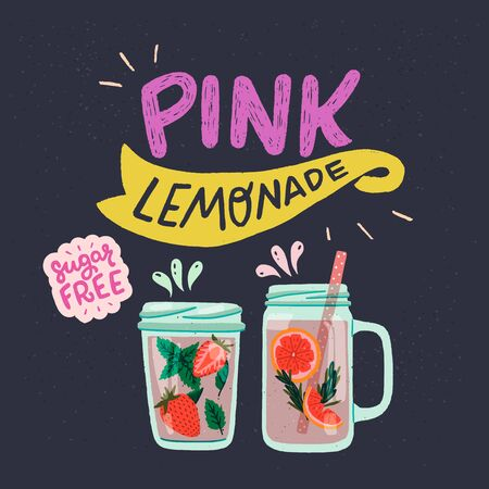 Pink Lemonade and Sugar Free lettering inscriptions with flat style mason jars on dark background. Two glasses with infused water, mint leaves, strawberry bits, grapefruit slices and rosemary. Vector