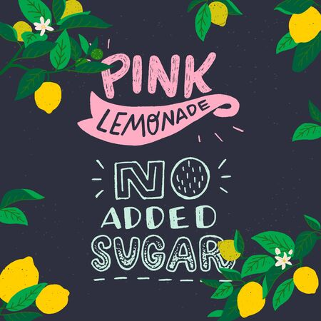 Pink Lemonade No Added Sugar chalk lettering inscription on dark background. Hand drawn inscription about cooling healthy drink decorated with cartoon lemon fruits, leaves and flowers. For menu, poster Иллюстрация