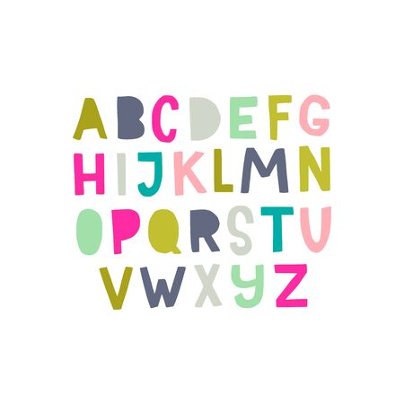Hand drawn sans serif block letters alphabet. Cartoon English ABC in paper cut style. Multicolored typography design in latin characters. Poster with different capital letters. Vector illustration.