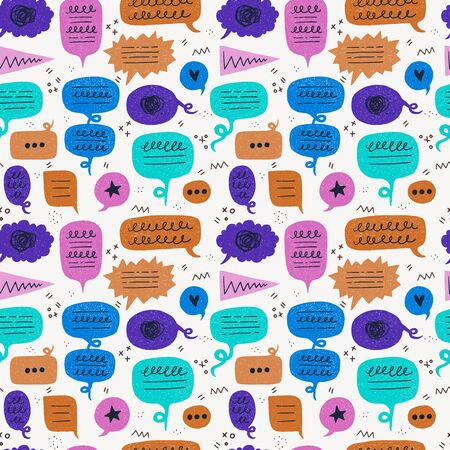 Colouful speech bubble seamless pattern with online thinking and typing symbols. Wallpaper with flat balloons of chat, conversation, dialogue. Repeating comic talking clouds with doodles and scribbles