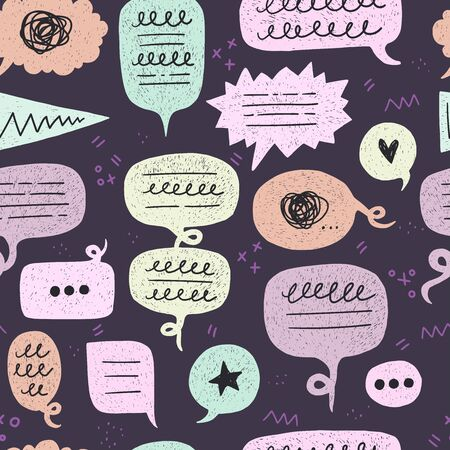 Speech bubble seamless pattern on dark background with doodles and scribbles. Backdrop with repeating talking balloons. Comic style dialogue clouds for textile, fabric, texture, wallpaper. Vector Иллюстрация