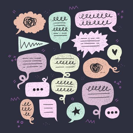 Collection of round, oval, triangle shaped speech bubbles. Flat style balloon kit for dialogue, chat, talk. Comic colorful bulbs with scribbles on dark background with doodle elements. Vector Фото со стока - 127035833