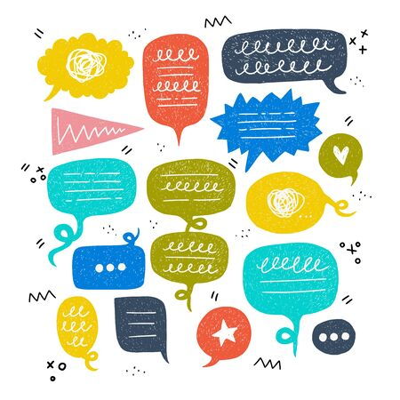 Bunch of speech bubbles of different colours and shapes. Balloon kit with scribbles for inscriptions, star, heart and three dots. Flat style bulb set for cartoon and comic dialogue, conversation, talk Ilustração