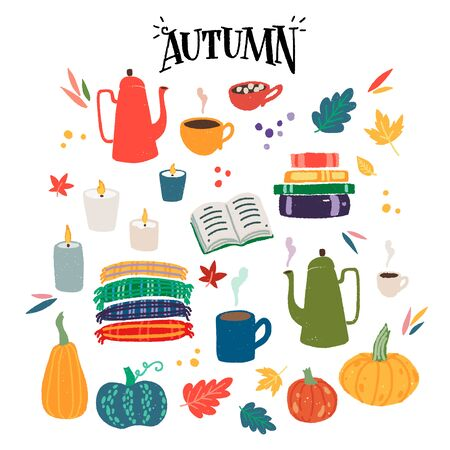 Flat style collection of cozy home items for autumn season. Set of cartoon hand drawn leaves, pumpkins, pots, burning candles, books, tartans and hot drinks in mugs and cups for warm atmosphere. Vector