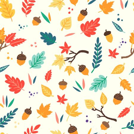 Autumn seamless pattern of flat style leaves and acorns. Repeated colorful tree leaf and oak fruit for fall mood backdrop, background, textile, fabric. Clipart tiling objects of harvest season. Vector